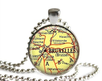 Brussels necklace Brussels map pendant vintage atlas jewelry Belgium world travel gift.