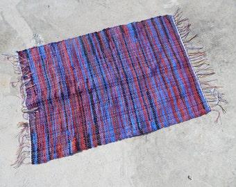 Red, Blue, Purple and Blacks handwoven boho themed rag rug, mat, rug