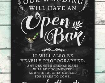 Open Bar Wedding Sign, Funny Wedding Sign, Shenanigans Wedding Sign, Open Bar Proceed with Caution, Chalkboard Open Bar Wedding