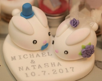 rabbit and bunny handmade wedding cake topper---k921