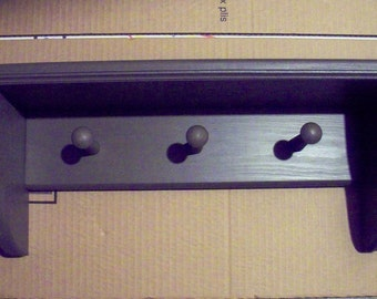 Wall Mounted Coat Rack Shelf Hanger Country Hanger with 3 Pegs