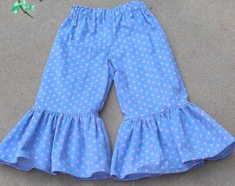 Girls Blue with Pink Dot Corduroy Ruffle Pants - Size 4