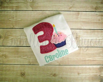 Glitter Number Applique with Cupcake Personalized Birthday T-shirt or Onesie for Girls