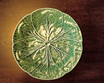 "Bordallo Pinheiro San Raphael Portugal Green Cabbage Majolica 7 3/4"" Salad Plate"