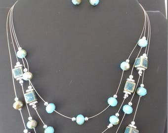 Necklace fancy and matching earrings, original, handmade for women.