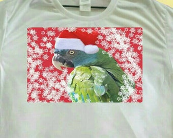 Christmas Parrot Santa Blue-headed Macaw Polyester White T-shirt Tee