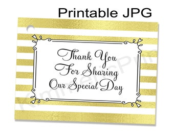 INSTANT DOWNLOAD ~Printable~Special Day~Party Tags-Weddings~Gift Tags~Favors~Thank You Gift Tags~Gold Metallic Stripes~Bridal Shower