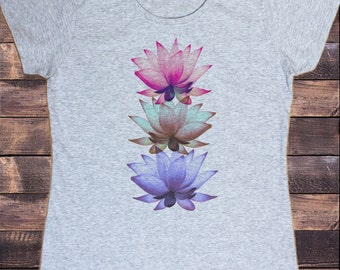 Women's T-Shirt Three Beautiful Lotus Tropical Floral Zen Print TSY1