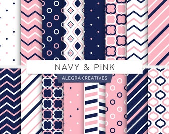 Navy & Pink digital paper, moroccan, rings, polka dot, chevron, stripes, navy blue, geometric patterns, scrapbook papers (Instant Download)