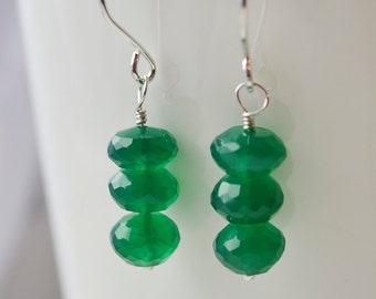 Stacked Green Onyx and Sterling Silver Earrings Handmade