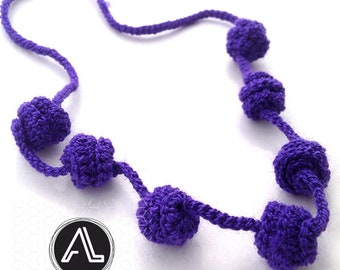 Violet Irisbo, Crochet necklace, Necklace in natural fibers, Handmade knitted necklace