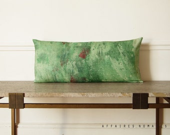 Green pillow  / Splash / Linen decorative lumbar pillow case...  /  FRAGMENTS