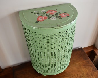 Green Metal and Wicker Laundry Bin with Hand Painted Coral Red White Roses, Small Pearl-Wick Laundry Hamper, Bathroom Storage Container