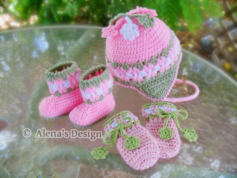 Crochet PATTERN Set Blossom Hat Baby Booties and Baby