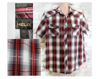 Cowboy shirt,  men's grey red shirt, Long sleeve shirt, men's plaid shirt, men's western shirt,  Size  XL ,   # 11