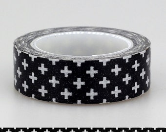 10m Black and White Cross Japanese Washi Tape