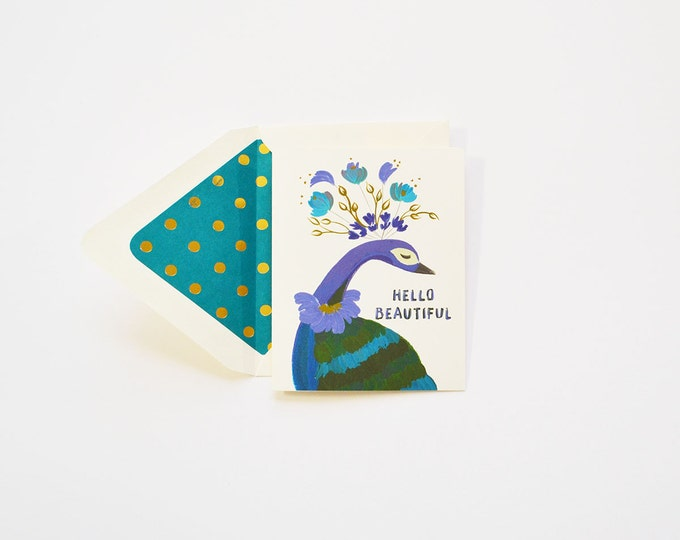 Hello Beautiful Peacock in Teal Card