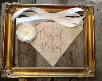 Dog Wedding Bandana, Dog of Honor Dog Bandana, Dog wedding outfit, Dog wedding collar,