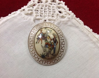 Vintage Thermoset German Spring Brooch Pin