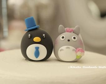 Penguin  and Totoro  wedding cake topper