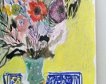 Sunbeam Arrangemen- Mixed media floral -8x8