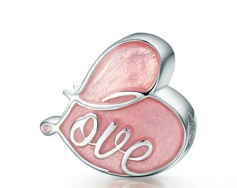 Sterling Silver, Heart Bead, Enameled Heart Bead, Heart Charm, European Bead, Heart Jewelry, Jewelry For Her, Love Charm, Large Hole Bead