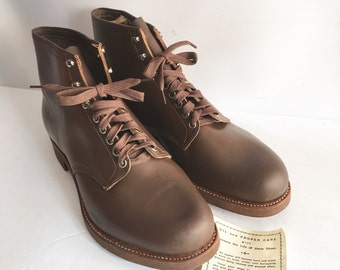 Men's Leather Workboots Size 12 1/2 11 1/2 M Width Vintage New Old Stock Unworn Brown Leather International Shoe Co. Deadstock Rugged 5 Ey