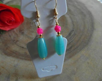 Blue earring with Mini Rose