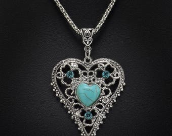 Vintage Turquoise Tibetan Silver Heart Necklace
