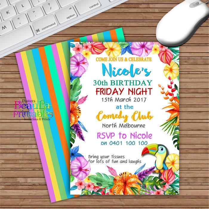 Party Invitations Hawaiian Theme Invitation Adult Invite