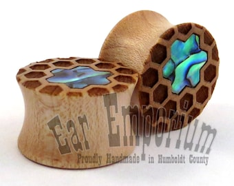 "Honeycomb Abalone Inlay Maple Plugs - PAIR - 7/16"" (11mm) 1/2"" (13mm) 9/16"" (14mm) 5/8"" (16mm) 3/4"" 7/8"" 1"" 28mm 30mm 32mm 38mm Ear Gauges"