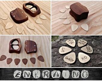 GUITAR PICKS & BOX / wooden guitar pick box / wood guitar pick case / guitar pick holder / wooden pick case / wood box / wood guitar picks