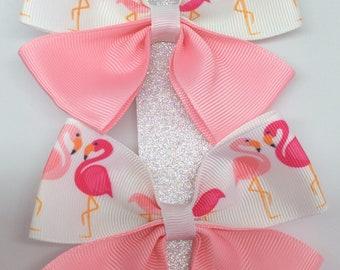Ribbon hair bow clips. Flamingo, pink.