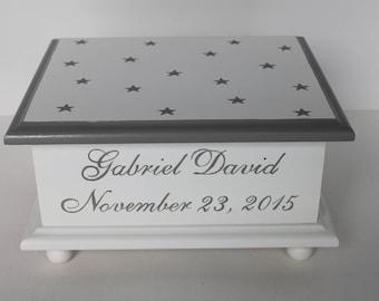 Baby Keepsake Box Baby Memory Box neutral grey stars personalized hand painted baby gift