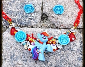 My Little Pony Dash Swarovski Crystal Bib Necklace and Earring Set