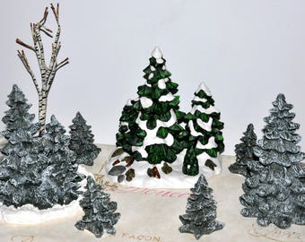 Assortment of 8 Village Trees, Train Board Trees, Christmas Village Trees, Snowy Branch Trees, Christmas Trees, Village Pine Trees
