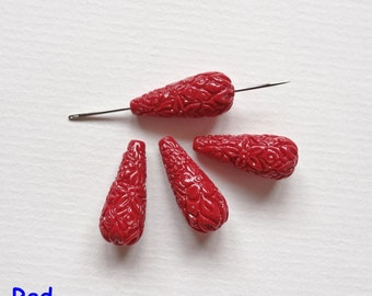 Reconstituted Coral with Resin Carved Teardrops 8x20 mm or 10.5x29 mm with center Drilled Hole One Pair H4918
