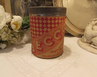 Super large antique French tole Becco Confectionery tin.