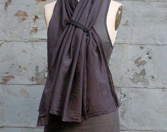 Cotton Scarf with Leather, Fashion Accessories, Hand Dyed