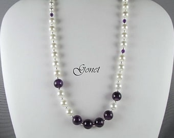 PEARL and AMETHYST NECKLACE  (Ashley)  by Gonet Jewelry Design