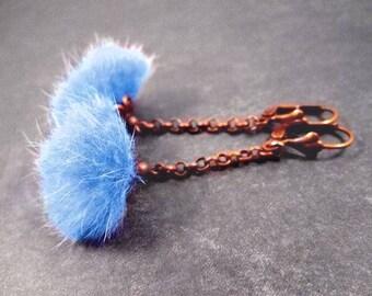 Fur Earrings, Powder Blue, REAL Mink Fur and Copper Dangle Earrings, FREE Shipping U.S.