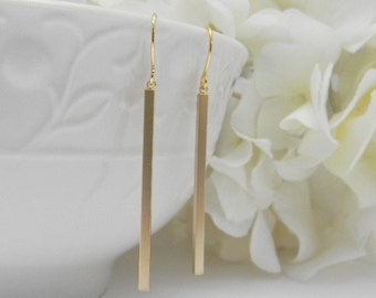 Slim Minimalist Gold Earrings - Skinny Gold Bar Earrings - Simple Bar Dangle Earrings - Gold Bar Earrings - Petite Earrings - Christmas Gift