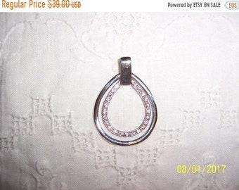 SUMMER SALE 20% OFF, Vintage Clear Cubic zirconias, pear shape pendant. Sterling silver.