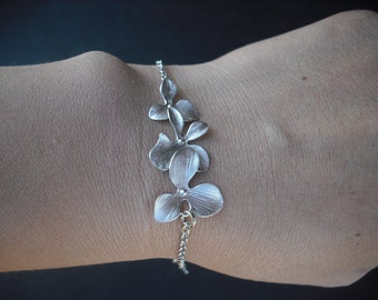 Sterling Silver Chain - orchid flowers bracelet