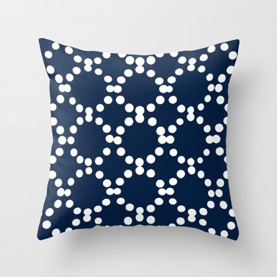 OUTDOOR Throw Pillow . Navy Outdoor Pillow . Navy Blue patio cushion . Modern Geometric Pillow Ring Dot . 16 18 20 inch . Rectangle Pillow
