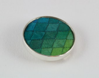 Green and blue minature patchwork silver brooch