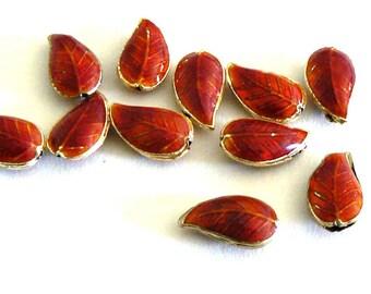 6 18x10mm Handmade Cloisonne Beads Bead Leaf Orange Red b2901