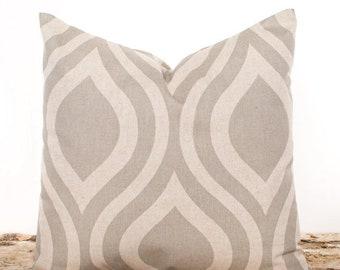 SALE ENDS SOON Brown Ogee Print Pillow Cover, Brown Throw Pillows, Decorative Pillowcase, Moroccan, Linen, Natural, Brown Sofa Cushions