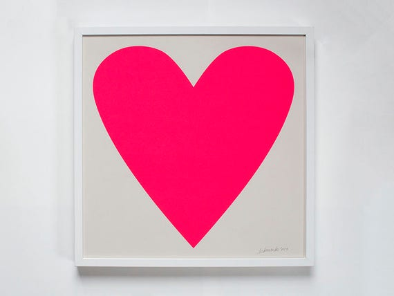 Neon Pink Heart Print Framed