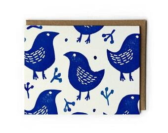 """Block Print Art, Block Print Greeting Card, Blank Greeting Card, Cute Bird Art, Blue Bird of Happiness, Folded Notecard, A2, 5.5"""" x 4.25"""""""